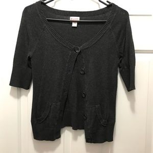 Cropped Short-Sleeve Cardigan with Buttons